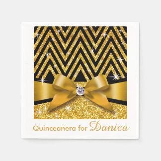 Glitter Chevron Bling Diamond Bow | gold Paper Napkin