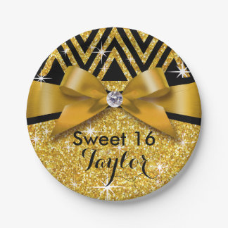 Glitter Chevron Bling Diamond Bow | gold Paper Plate