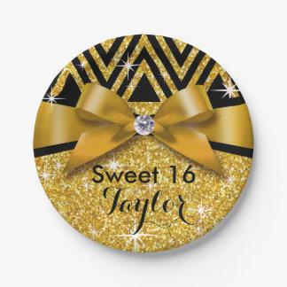 Glitter Chevron Bling Diamond Bow   gold Paper Plate
