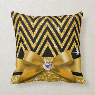 Glitter Chevron Bling Diamond Bow | gold Pillow
