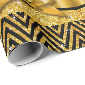 Glitter Chevron Bling Diamond Bow | gold Wrapping Paper