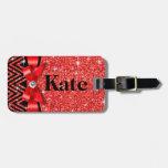 Glitter Chevron Bling Diamond Bow | red Bag Tag