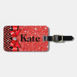 Glitter Chevron Bling Diamond Bow   red Bag Tag