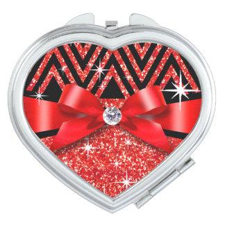 Glitter Chevron Bling Diamond Bow | red Compact Mirror