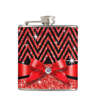 Glitter Chevron Bling Diamond Bow   red Flask