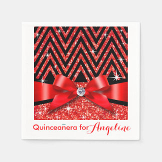 Glitter Chevron Bling Diamond Bow | red Paper Napkin