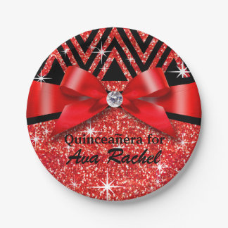 Glitter Chevron Bling Diamond Bow | red Paper Plate