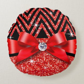 Glitter Chevron Bling Diamond Bow | red Round Pillow
