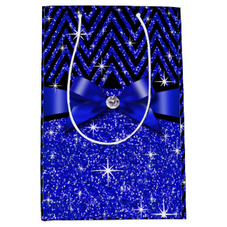 Glitter Chevron Bling Diamond Bow | sapphire Medium Gift Bag