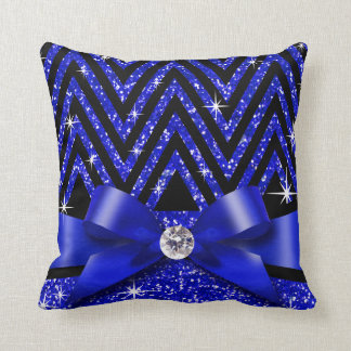 Glitter Chevron Bling Diamond Bow | sapphire Pillow