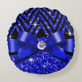 Glitter Chevron Bling Diamond Bow | sapphire Round Pillow