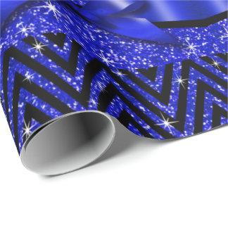 Glitter Chevron Bling Diamond Bow | sapphire Wrapping Paper