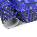 Glitter Chevron Bling Diamond Bow | sapphire Wrapping Paper