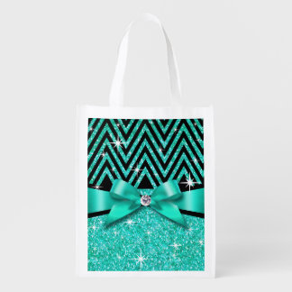 Glitter Chevron Bling Diamond Bow | teal Grocery Bag