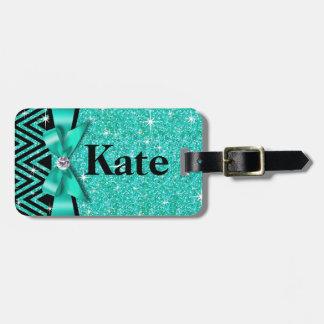 Glitter Chevron Bling Diamond Bow | teal Luggage Tag