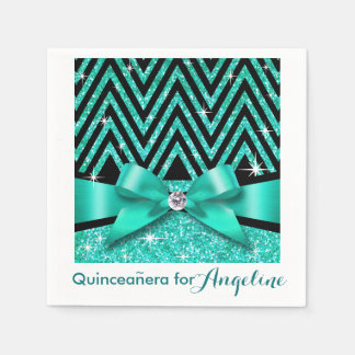 Glitter Chevron Bling Diamond Bow | teal Paper Napkin