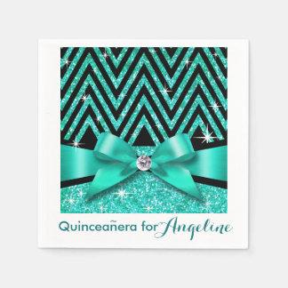Glitter Chevron Bling Diamond Bow | teal Paper Napkin