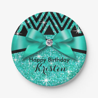 Glitter Chevron Bling Diamond Bow | teal Paper Plate