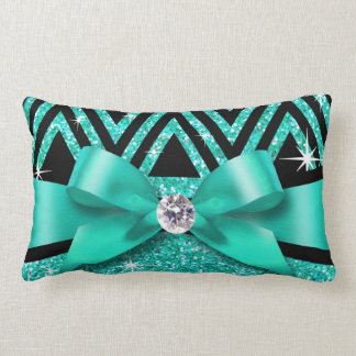 Glitter Chevron Bling Diamond Bow | teal Pillow