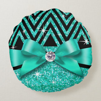 Glitter Chevron Bling Diamond Bow | teal Round Pillow