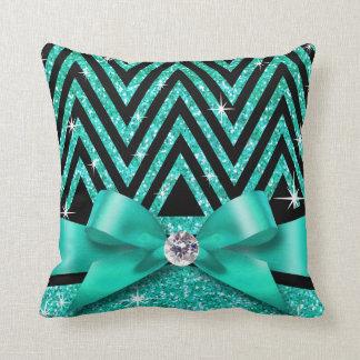 Glitter Chevron Bling Diamond Bow | teal Throw Pillow