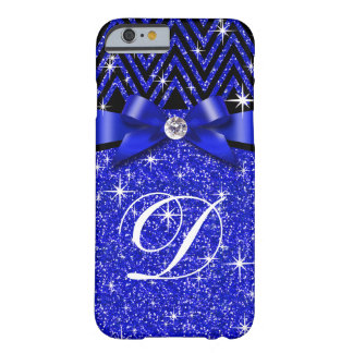 Glitter Chevron Bling Diamond Monogram | sapphire Barely There iPhone 6 Case
