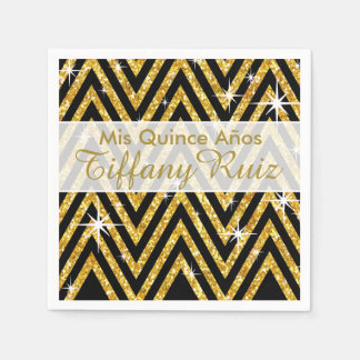 Glitter Chevron Bling Glam | gold Napkin