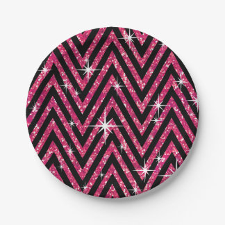 Glitter Chevron Bling Glam Party | fuchsia 7 Inch Paper Plate