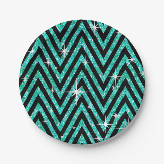 Glitter Chevron Bling Glam Party | teal Paper Plate