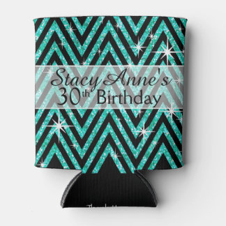 Glitter Chevron Bling | teal Can Cooler