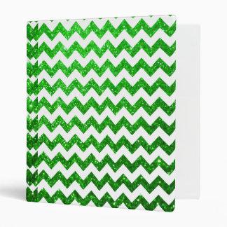 Glitter Chevron Green Binder