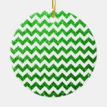 Glitter Chevron Green Ornament
