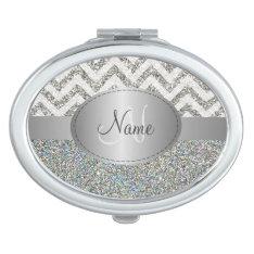 Glitter Chevron Monogram Compact Mirror at Zazzle