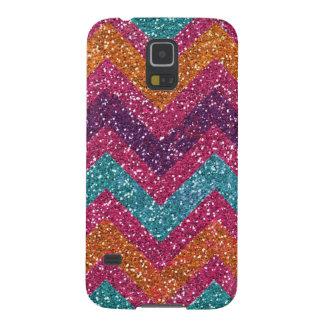 Glitter Chevron Pink Purple Orange Teal Galaxy S5 Cover