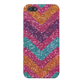 Glitter Chevron Pink Purple Orange Teal iPhone 5 Cases