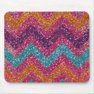 Glitter Chevron Pink Purple Orange Teal Mouse Pad
