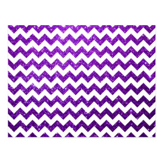 Glitter Chevron Purple Post Cards