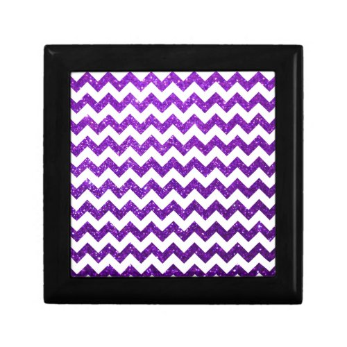 Glitter Chevron Purple Trinket Boxes