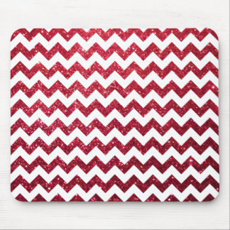 Glitter Chevron Red Mouse Pad