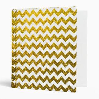 Glitter Chevron Yellow Gold 3 Ring Binder