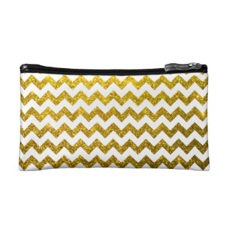 Glitter Chevron Yellow Gold Cosmetic Bag