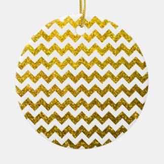 Glitter Chevron Yellow Gold Ceramic Ornament
