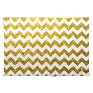 Glitter Chevron Yellow Gold Place Mat