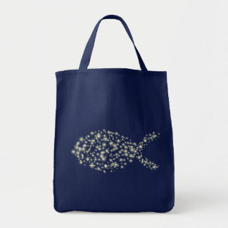 Glitter Christian Fish Symbol Grocery Tote Bag