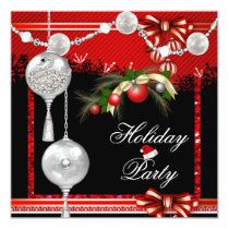 Glitter Christmas Holiday Party Red Silver White Card