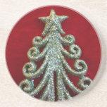 Glitter Christmas tree Beverage Coaster