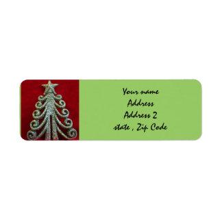 Glitter Christmas tree Label