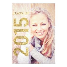 """Glitter Class of 2015 Graduation Announcement 5"""" X 7"""" Invitation Card at Zazzle"""