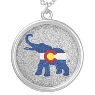 Glitter Colorado flag elephant necklace