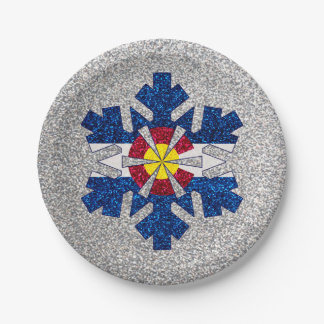 Glitter Colorado flag snowflake paper plates